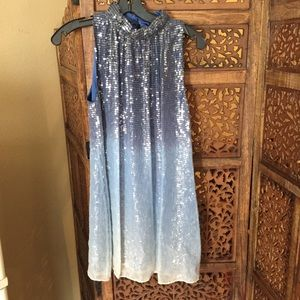 Alice & Olivia Sequin Mini Dress Ombre Blue
